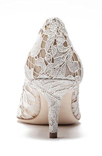 uBeauty Damen Stilettos Hell Spitzen Pumps Luxus High Heels Hochzeitsschuhe Spitze Zehen Slip On Sandalen Weiß