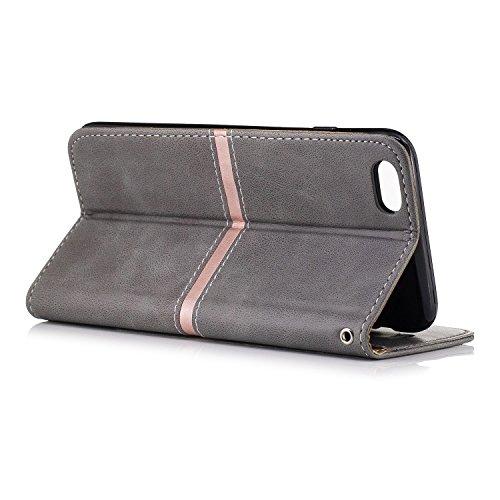 iPhone Case Cover IPhone 6 Plus Housse, Premium PU Leather Horizontal Flip Stand Case Avec Holder & Wallet & Card Slot & Photo Frame Pour Apple IPhone 6 Plus 5.5 Pouces ( Color : Gray , Size : IPhone  Gray