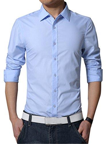 Camicie uomo slim fit maniche lunghe casual camicia abito camicia affari top classiche formale camicetta shirt moda men colore puro shirts azzurro m