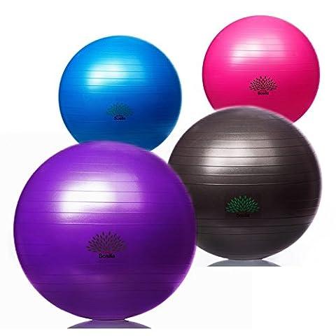 Sosila Anti-Burst Gymnastikball, Yogaball, Pilatesball, Fitnessball, Sitzball mit Pumpe, rutschfest, berstsicher von 65cm und 75cm, 150kg Maximalbelastbarkeit, Pezziball Swissball als Fitness Kleingeräte und Balance Stuhl, ideal für Rehasport, Balanceübungen, Koordinationsübungen, Schwarz, Lila, Pink und Blau (Pink, 75cm)