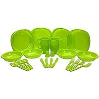 Elección de color azul o verde 26piezas de plástico Picnic/barbacoa/Festival/Camping/Set de fiesta, incluye platos, cuencos, tazas, cuchillos, tenedores, cucharas, y bolsa de sal y pimienta, verde