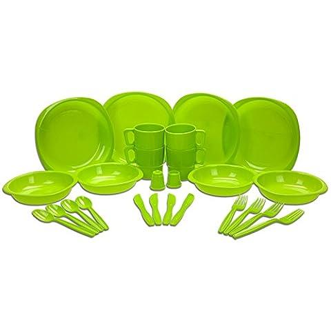 Lot de 26pièces de vaisselle en plastique, couleur bleu ou vert au choix, pour pique-nique, barbecue, festival, camping, fête, comprenant assiettes plates, assiettes creuses, tasses, couteaux, fourchettes, cuillères, salière, poivrière et étui
