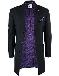 Marc Darcy Mens Winter Over Coat Black 3/4 Long Jacket Crombie Herringbone Tweed Velvet