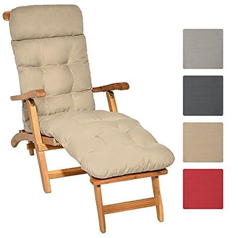 Beautissu Auflage für Deckchair Flair DC 200x50x8 cm Liege-Stuhl Polster-Auflage mit Schaumflockenfüllung