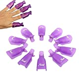 #8: Sunward 10Pc Plastic Nail Art Soak Off Cap Clip Uv Gel Polish Remover Wrap Tool App 5X2cm Purple