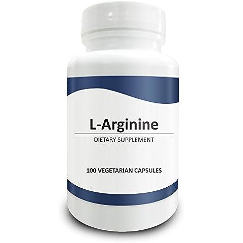 Pure Science Suplementos de L - arginina 750mg - Mejora la salud coronaria y cardiovascular, mejora la función inmunitaria, el flujo sanguíneo y el rendimiento físico - 100 cápsulas vegetarianas de polvo de L -