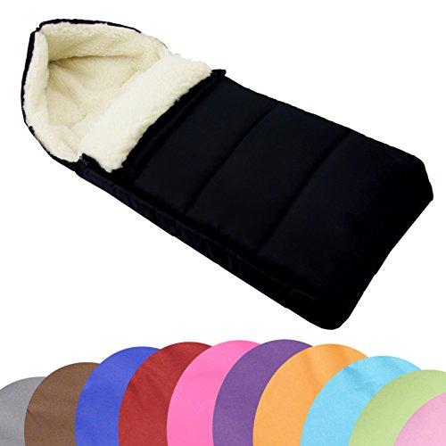 BAMBINIWELT universaler Winterfußsack (108cm), auch geeignet für Babyschale, Kinderwagen, Buggy, aus Wolle UNI (Schwarz Liniert) (Wolle Lammwolle)