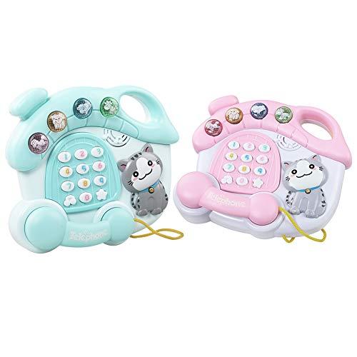 Yimosecoxiang Karikatur-Tierbaby-Musik-pädagogisches Spielzeug-Telefon scherzt Musikinstrument Rosa