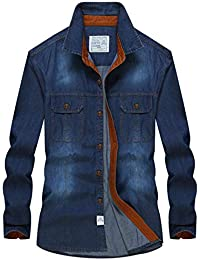 0c7db8bde2953 FuweiEncore Automne Hommes Casual 100% Coton Chemises De Cowboy Printemps  Homme Plus La Taille De