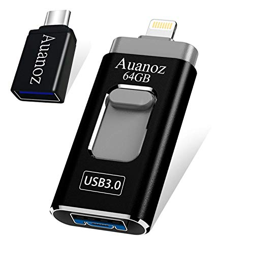 USB-Stick 64G, Auanoz iPhone-Stick Compatible with iPhone X XR XS MAX, Jump Drive Thumb Drive 3.0-Stick Bereit Compatible with iPhone 6/7 / 8 / iPad/Android und Computer.(Schwarz-64gb-3.0)