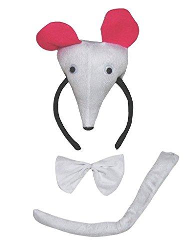 Petitebelle 3D-Stirnband Bowtie Schwanz Kostüm für Erwachsene Einheitsgröße 3D-Maus Weiß (Weiße Maus Schwanz Kostüm)