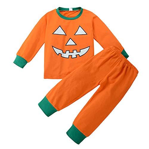 Anywow Unisex Kleinkind Mädchen Jungen Halloween Pyjamas Kinder Kürbis Gesicht Tops Passende Legging Hosen Nachtwäsche Kleidung Set