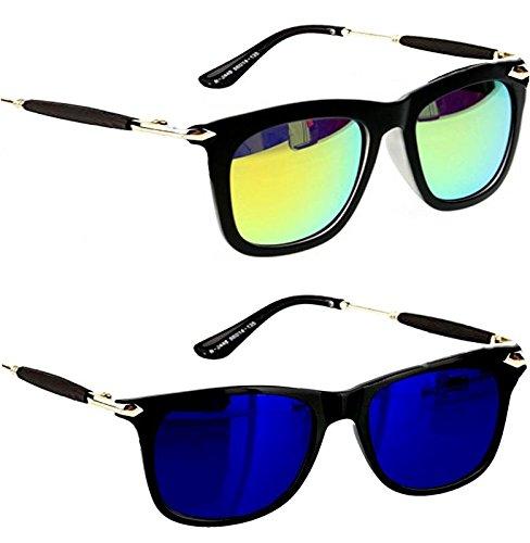 Younky Uv Protected Combo Of 2 Wayfarer Men\'s, Women\'s, Boy\'s, Girl\'s Sunglasses - (Ynss_Gm-Bm|55|Blue)