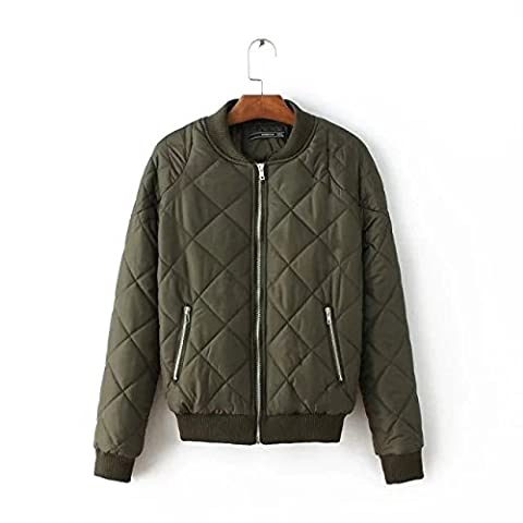 WJS-ClothingCotton fashion all-match Plaid Cotton Quilted Jacket baseball uniform dress coat,Army