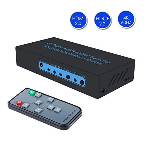 FiveHome 4K@60Hz Switch HDMI Schalter mit Fernbedienung, 3 Eingänge und 1 Ausgang,unterstützt höchste Auflösung bis 4Kx2K@60Hz,HDR, HDCP 2.2, FullHD/3D, 1080P, DTS/Dolby 3 X 1 Hdmi Automatic Switch