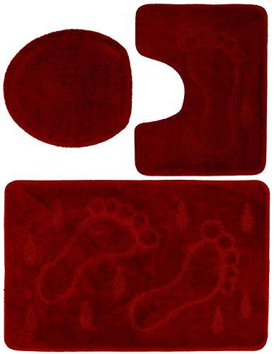 3 teiliges Badgarnitur Set Füße Muster mit Ausschnitt - Badteppich 85x55 Badematte (Rot) (Rot-orange-bad-teppiche)