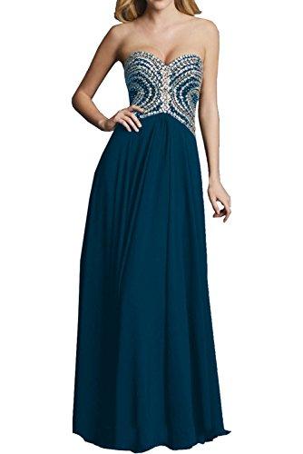 Milano Bride Anmutig Chiffon Herzausschnitt Strasse steine Abendkleider Ballkleider Partykleider Lang Empire Rock Dunkel Blau