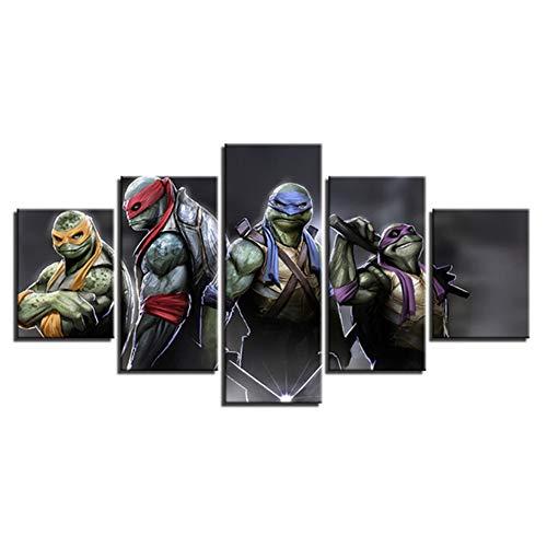 Loiazh - Bilder Vlies Leinwandbild 5 Teilig Kunstdruck modern Wandbilder Wanddekoration Design Wand Bild - Frameless - Ninja Turtles 100x40 80x40 60x40(cm) - Ninja Hintergrund Turtle