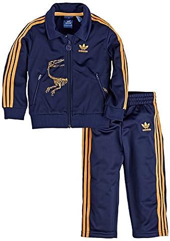 adidas Originals I DINO FB Firebird Anzug Baby Jogger Kinder Trainingsanzug, Farbe:Blau, Größe:80 (Adidas Firebird Jacke Blau)