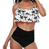 B-commerce Frauen Retro Volant hoch taillierte Bikini Neckholder Bikini Zweiteilige Rüschen Tank Tops BH Blätter Print Badeanzug