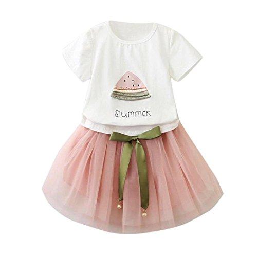 HARRYSTORE Kleinkind Kinder Baby Mädchen Outfit Set Wassermelone Druck T-Shirt + Bowknot Dekoration Kurzer Rock (4-5T, Rosa) (Carters Camo)