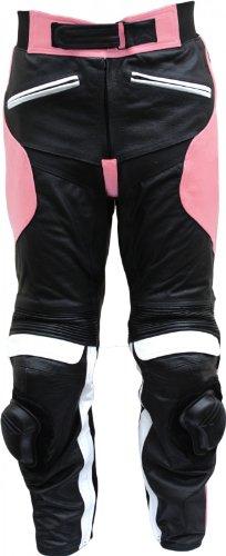 Damen Motorradhose Motorrad Biker Racing Lederhose Rindsleder Schwarz/Pink, Größe:L