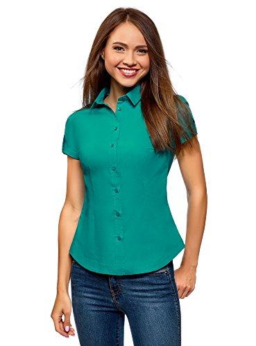 oodji Ultra Mujer Camisa de Algodón de Manga Corta, Verde, ES 36 / XS
