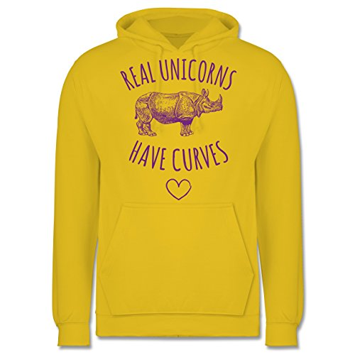 Statement Shirts - Real unicorns have curves - Männer Premium Kapuzenpullover / Hoodie Gelb