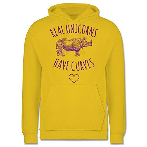 Statement Shirts - Real unicorns have curves - Männer Premium Kapuzenpullover / Hoodie Gelb