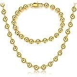 Skyeye Goldene kupferne Charmhalskette der Perlenform Kette Damen Anhänger Halskette Ketten Schmuck Geschenk für Frauen Mädchen Freundin Mutter Tochter(Armband + Halskette)