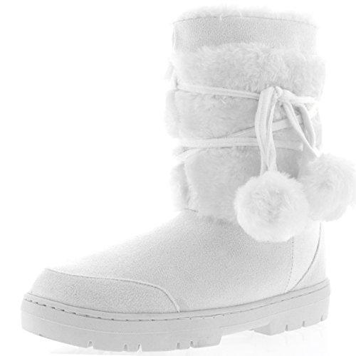 Holly Damen Schuhe Pom Pom Fell Schnee Regen Stiefel Winter Pelzstiefel - Weiß - WHI39 AEA0315 (Boots Weiße Winter)