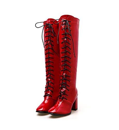 Mamrar 7.5 Centimetri Chunkly Tacco Alto Stivali Knight Boot Donne Piazza Toe Lace Up Cerniera Moto Stivali Partito Abito Boot EU Dimensioni 34-40,Red,34EU