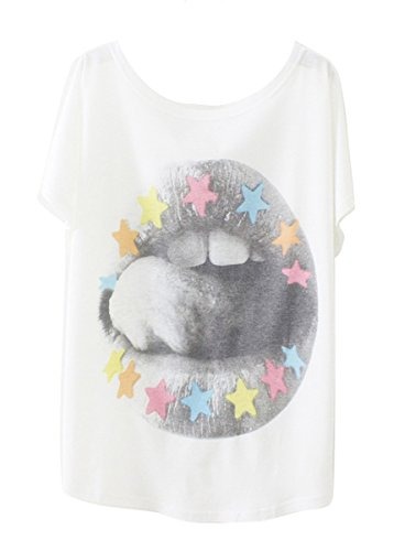 Luna et Margarita Damen Weiss Fledermaus-Shirt mit Baumwolle und Stoffdruck in der gleichen Größen 59cm. Lippe mit den Sterne