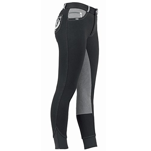 'USG Pantaloni da equitazione Madeleine, equitazione, Unisex, nero/grigio, 140