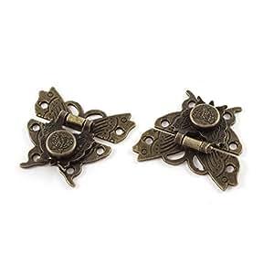 Sourcingmap® 52mmx45mm Geschenkbox Schmetterling Form Überfalle Lock Laschen Bronze Ton 2