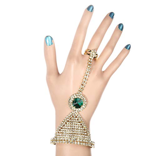 MHOOOA Armband Armreif Strass Fashion Chain Link Armbänder für FrauenEinstellung Runde Grün/Blau/Rot Stein Schmuck indischen Stil