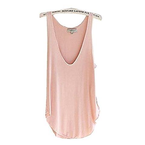 OVERMAL Mode Summer Woman Lady Sans Manches V-Neck Candy Vest Loose DéBardeurs T-Shirt (rose)