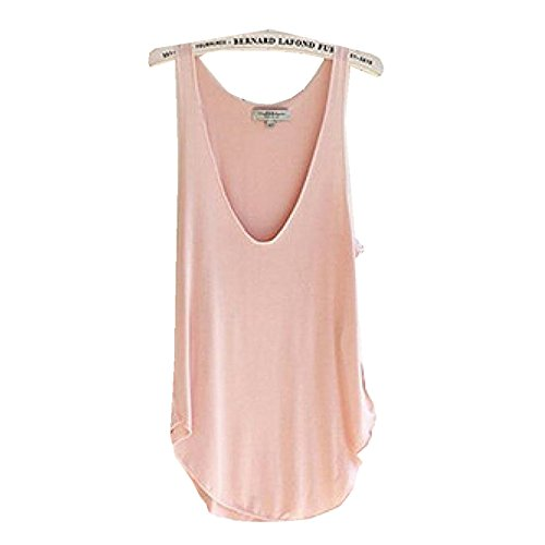 overmal-mode-summer-woman-lady-sans-manches-v-neck-candy-vest-loose-debardeurs-t-shirt-rose