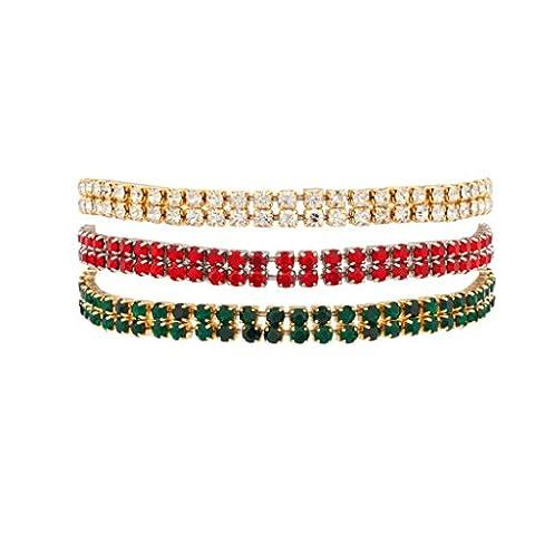 LUX Zubehör Weihnachten Star Nieten embellisted Stretch Fit Armband transparent rot und grün