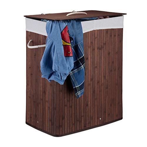 Relaxdays cesto portabiancheria rettangolare con coperchio, 2 scomparti, pieghevole, bambù, marrone, 100 l