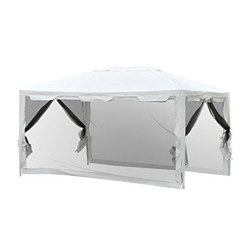 Outsunny – 4x 3m großes Party-Zelt, Outdoor-Pavillon, Garten, Himmel, Party, Hochzeit, Unterstand mit Moskitonetz.