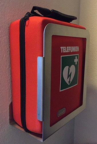 DEFIBRILLATOR TELEFUNKEN FA1 (automatische Schockauslösung) mit Metall-Wandhalterung und Vollausstattung