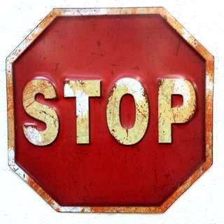 Traffico in metallo lavorato a sbalzo, Road Sign-Targa da parete stile vintage/stile rustico e design urbano Retrò STOP