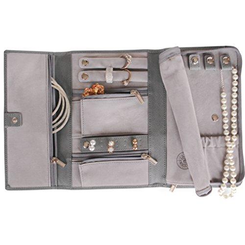 Cofanetto per gioielli da viaggio in pelle Saffiano - Portagioie di Case Elegance