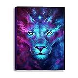 zxddzl Pintura Decorativa sin Marco Abstracto Azul púrpura león computadora inyección de Tinta Pintura al óleo 50 * 70 cm