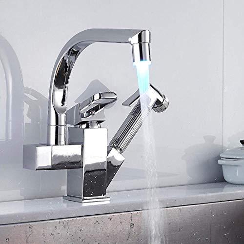Preisvergleich Produktbild GST&GST LED Küchenarmatur Mit 3-Farbtemperaturkontrolle,  360° Drehbar Wasserhahn U-Form Einhebelmischer Spültischarmatur,  Kalt-Warm Schwarz Armatur Für Küche Badezimmer,  Chrom