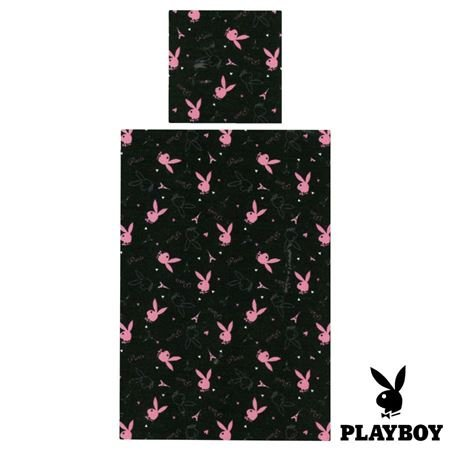 Playboy Microfaser Bettwaesche 2 teilig Schwarz