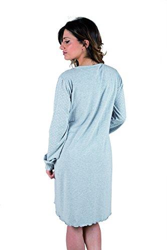 Premamy - Damen Stillnachthemd Schwangerschaft Pre-Postpartum Langarm Baumwolle Stretch Grau