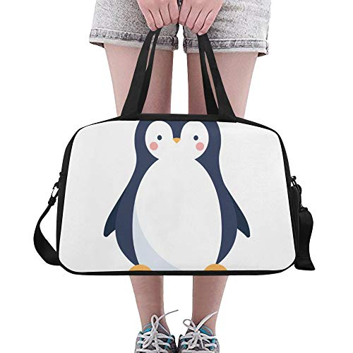 Pinguin Weiß Schwarz Hübsch Tier Große Yoga Gym Totes Fitness Handtaschen Reise Seesäcke Schultergurt Schuhbeutel Für Übung Sport Gepäck Für Mädchen Männer Frauen Outdoor
