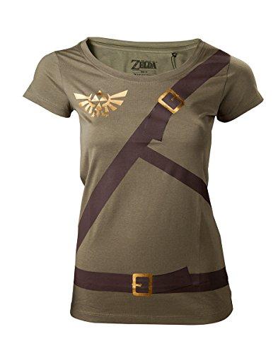 Zelda Link Cosplay Nintendo Girlie Shirt oliv Baumwolle Oliv